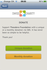 Screenshot Swiss Charity iPhone App